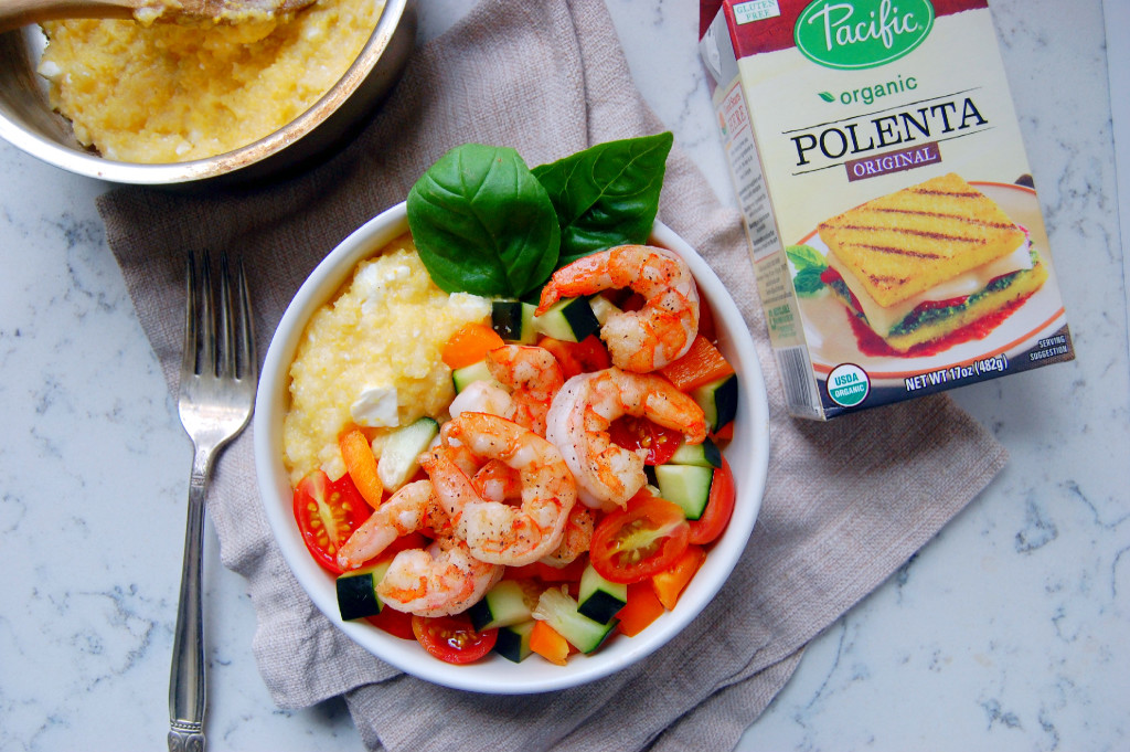 20 Minute Shrimp Polenta Bowls with Tomato Salad - a perfect weeknight meal! | uprootfromoregon.com