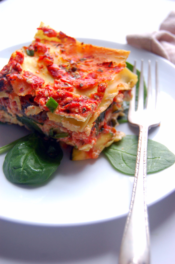 A high protein, dairy-free Turkey Lasagna with Ricotta Tofu, Mushrooms, Zucchini, and Spinach | uprootfromoregon.com