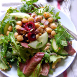 Cherry Chickpea Cucumber Salad with an Almond Butter Dressing