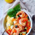 Quick Shrimp Polenta Bowls with Tomato Salad