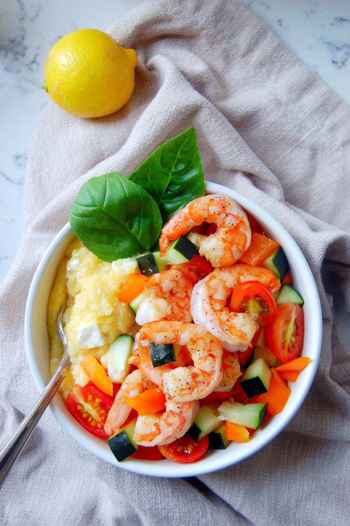 Quick Shrimp Polenta Bowls with Tomato Salad, Lemon, and Feta | uprootfromoregon.com
