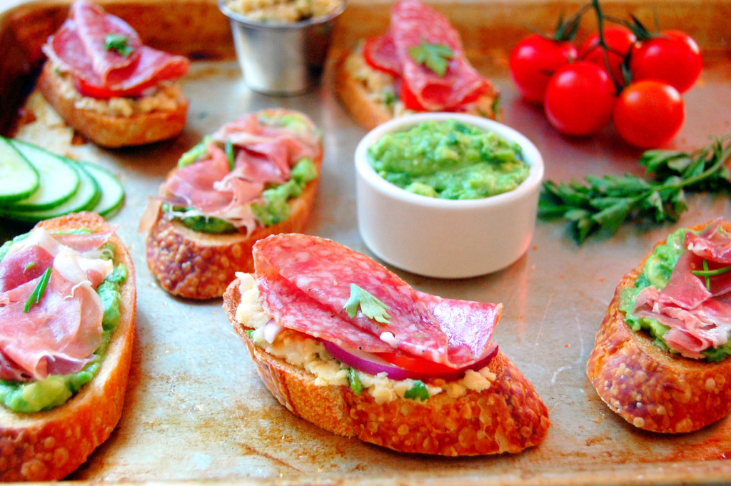... Avocado Prosciutto Crostini and a Smashed Chickpea Salami Crostini