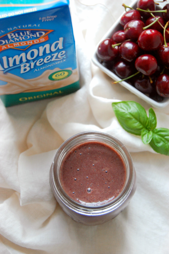 Sweet Cherry and Basil Smoothie - packed with delicious summer flavor! | uprootfromoregon.com