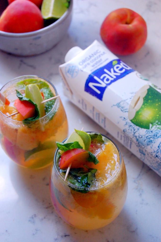 A PEACH COCONUT MOJITO MOCKTAIL recipe, made with hydrating Naked Juice coconut water #ad | uprootfromoregon.com