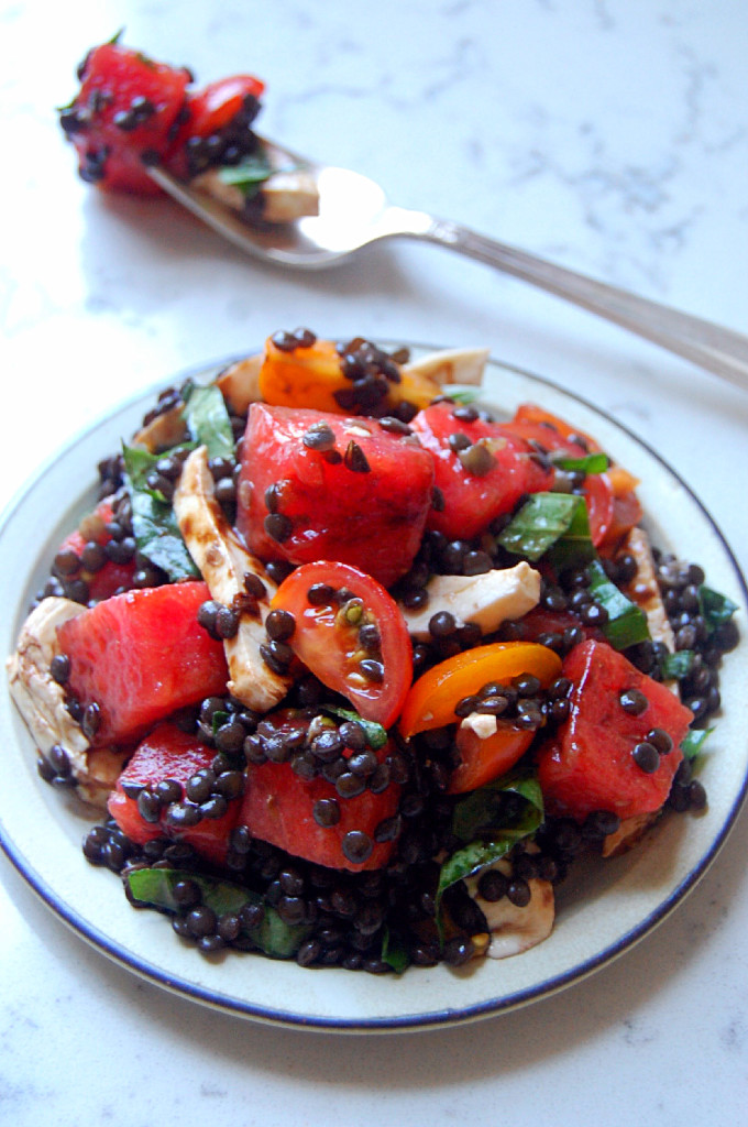A delicious and summery twist on caprese salad, this Beluga Black Lentil and Watermelon Caprese is the perfect gluten-free and vegetarian recipe to serve to friends | uprootfromoregon.com