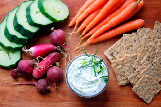 A delightful veggie plate spread with a recipe for Greek Yogurt Dip for Veggies - a healthy twist on a cream-cheese laden favorite! | uprootfromoregon.com