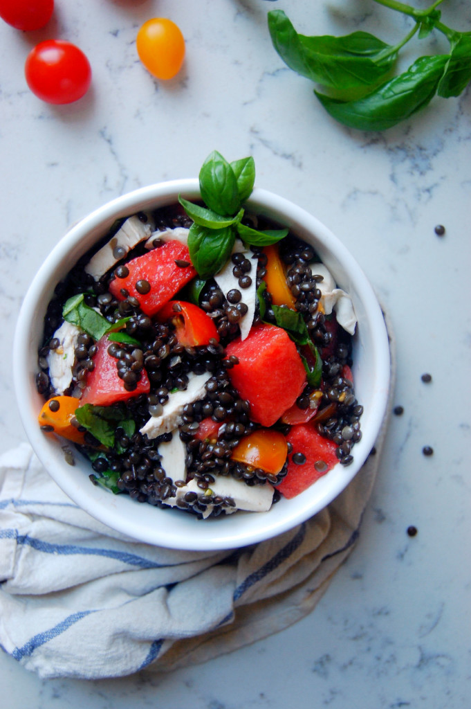 Beluga Lentil and Watermelon Caprese Salad #glutenfree #vegetarian | uprootfromoregon.com