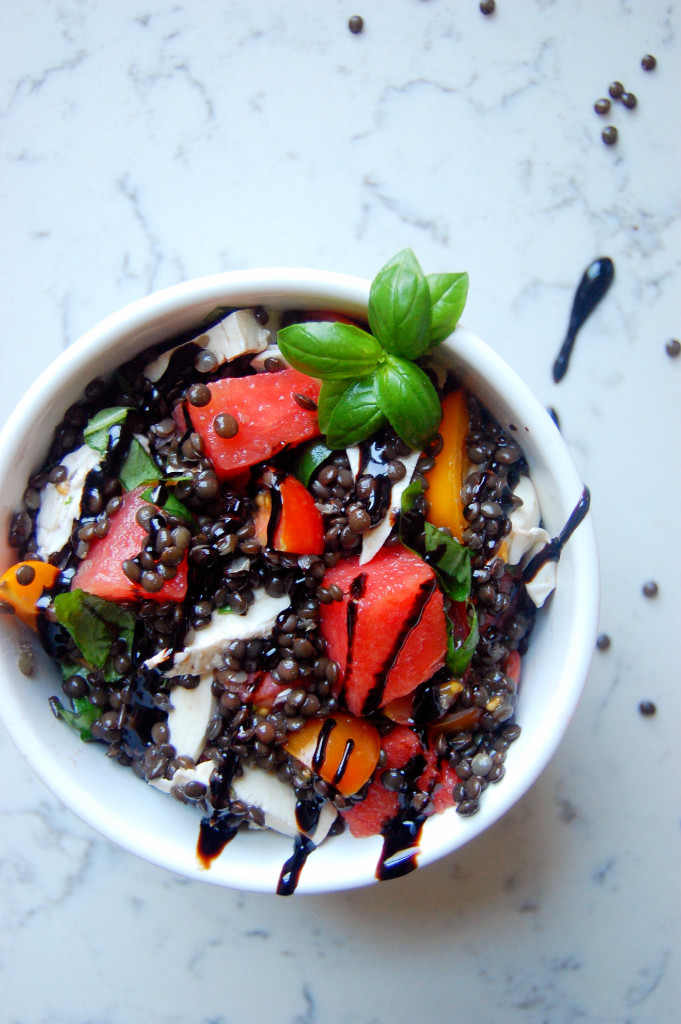 Beluga Lentil and Watermelon Caprese Salad recipe with tomatoes, mozzarella and basil and a balsamic glaze drizzle #glutenfree #vegetarian | uprootfromoregon.com