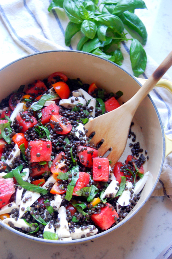 Beluga Lentil and Watermelon Caprese Salad | uprootfromoregon.com