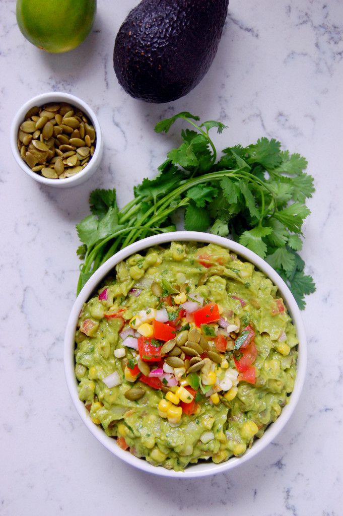 Chunky Sweet Corn Guacamole with Pepitas - a perfect summer guacamole recipe for a crowd | uprootfromoregon.com