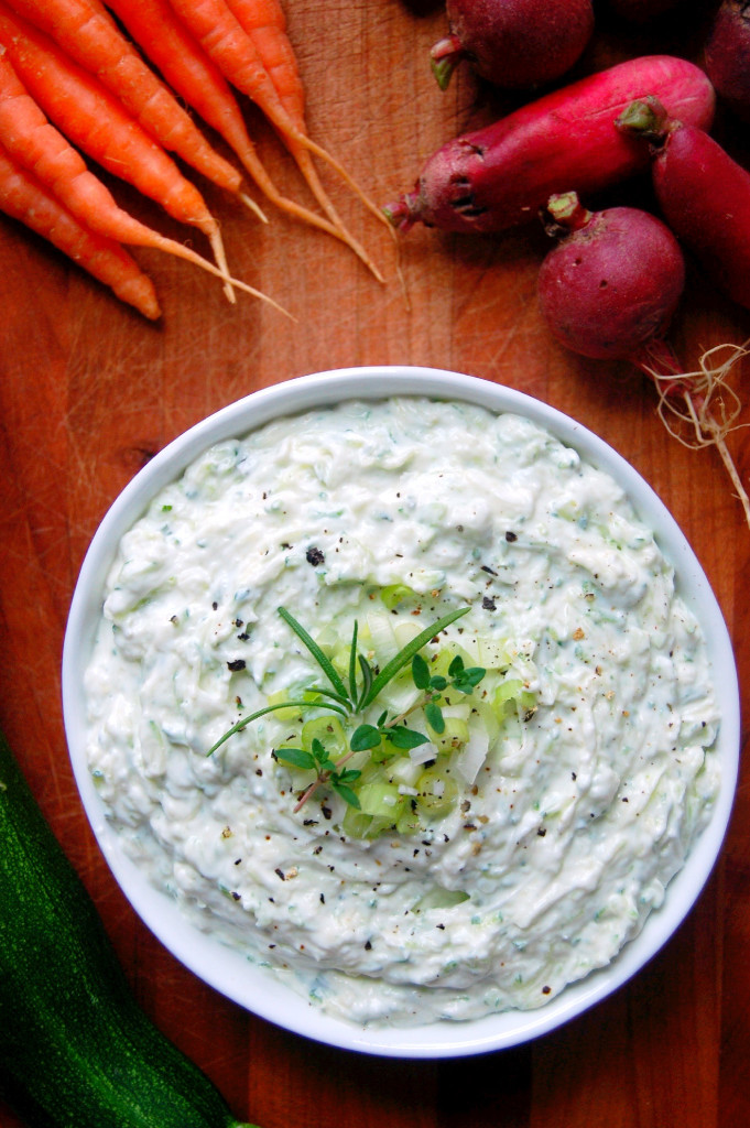 Greek Yogurt Veggie Dip with Grated Zucchini - a perfect summer appetizer or use for your zucchini! #glutenfree #vegetarian | uprootfromoregon.com