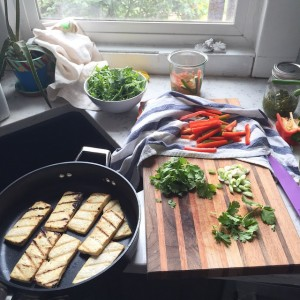 Grilled Tofu Banh Mi Salad in the making | uprootfromoregon.com