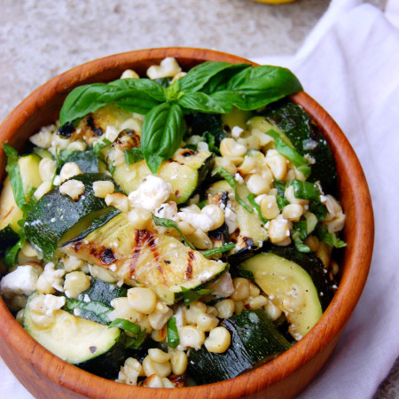 Grilled Zucchini and Corn Summer Salad with Feta, Basil, and Lemon Juice - a perfect side dish for BBQs and parties #glutenfree #vegetarian | uprootfromoregon.com