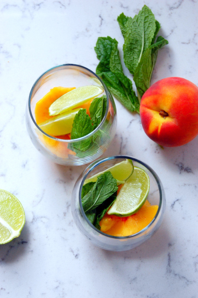 Peach Coconut Mojito Mocktail recipe - perfect for a day at the pool or hydrating you while you soak up the sun in your backyard | uprootfromoregon.com