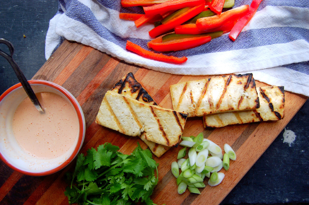 The makings of a Vietnamese Grilled Tofu Salad with Greek Yogurt Sriracha Dressing | uprootfromoregon.com
