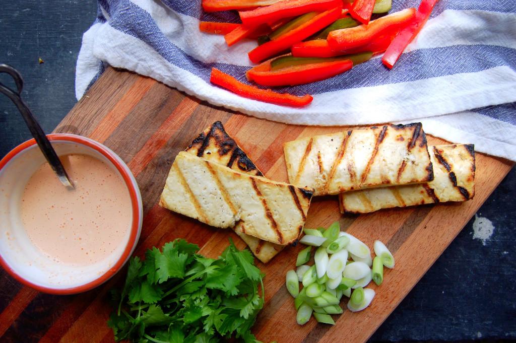 The makings of a Vietnamese Grilled Tofu Salad with Greek Yogurt Sriracha Dressing | uprootfromoregon.com