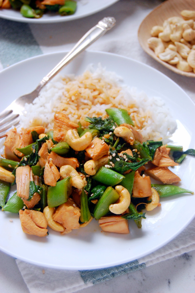 This Cashew Chicken Stir Fry recipe combines the flavors of garlic, soy sauce, spice and honey to make an incredible and easy weeknight meal! | uprootfromoregon.com