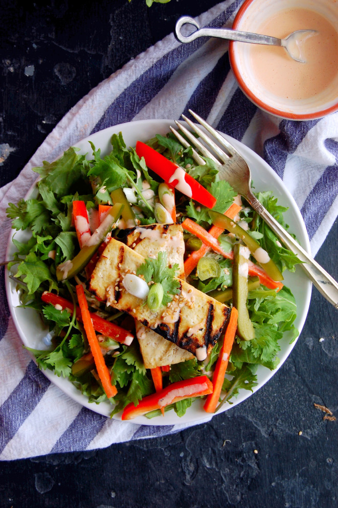 Tofu Banh Mi Salad with Sriracha Greek Yogurt Dressing and Quick Pickled Vegetables #glutenfree | uprootfromoregon.com