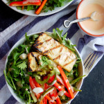 Grilled Tofu Banh Mi Salad with Sriracha Greek Yogurt Dressing
