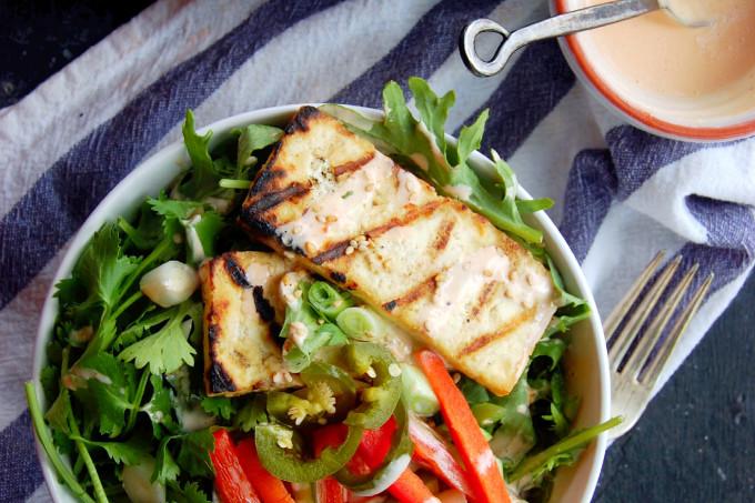Vietnamese Grilled Tofu Banh Mi Salad with Sriracha Greek Yogurt Dressing and Quick Pickled Vegetables #glutenfree | uprootfromoregon.com