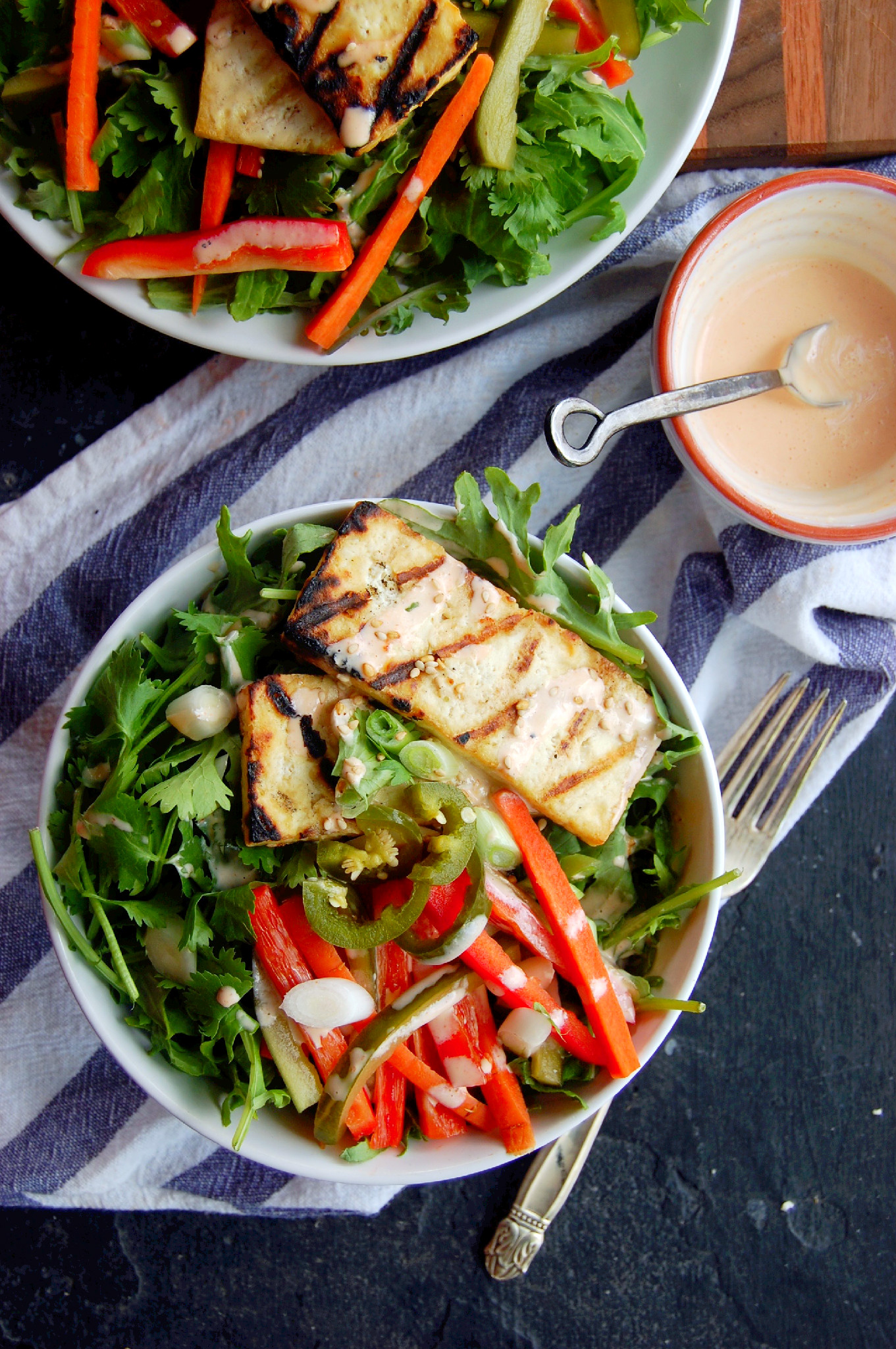 Grilled Tofu Banh Mi Salad with Sriracha Greek Yogurt Dressing |