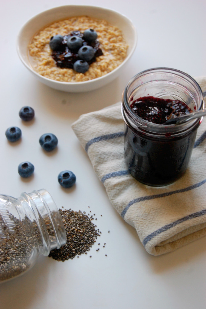 Blueberry Chia Jam - perfect for topping oatmeal, toast, or baked goods! Try this 3 ingredient jam recipe made with chia seeds. | uprootfromoregon.com