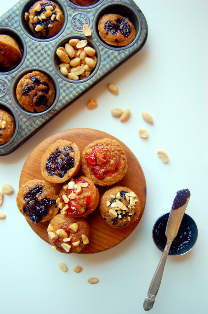 Mini Peanut Butter and Jelly Muffins, perfect for a lunchbox or sweet afternoon treat. Made with peanut flour, your favorite jam, and other healthy ingredients. | uprootfromoregon.com