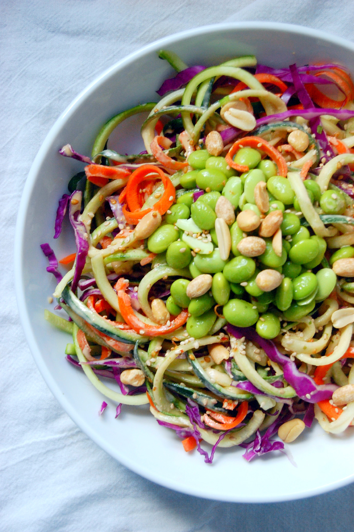 Peanut Zucchini Noodle Salad with Carrots, Cabbage, and Edamame | uprootfromoregon.com