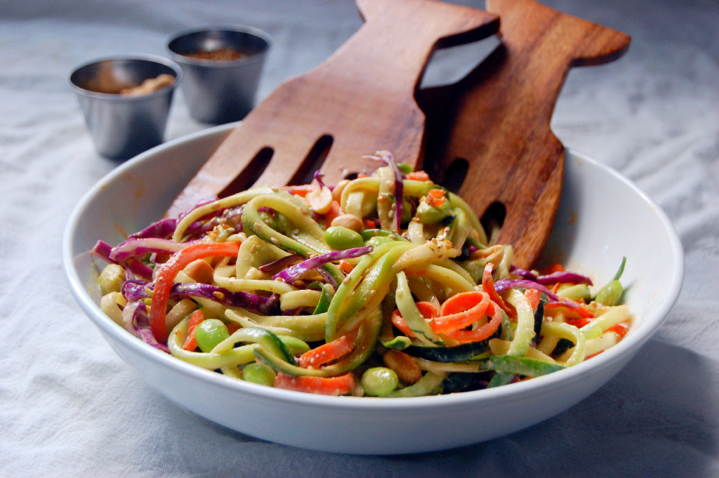 Saucy Peanut Veggie Noodle Salad with carrot noodles, zucchini noodles ...