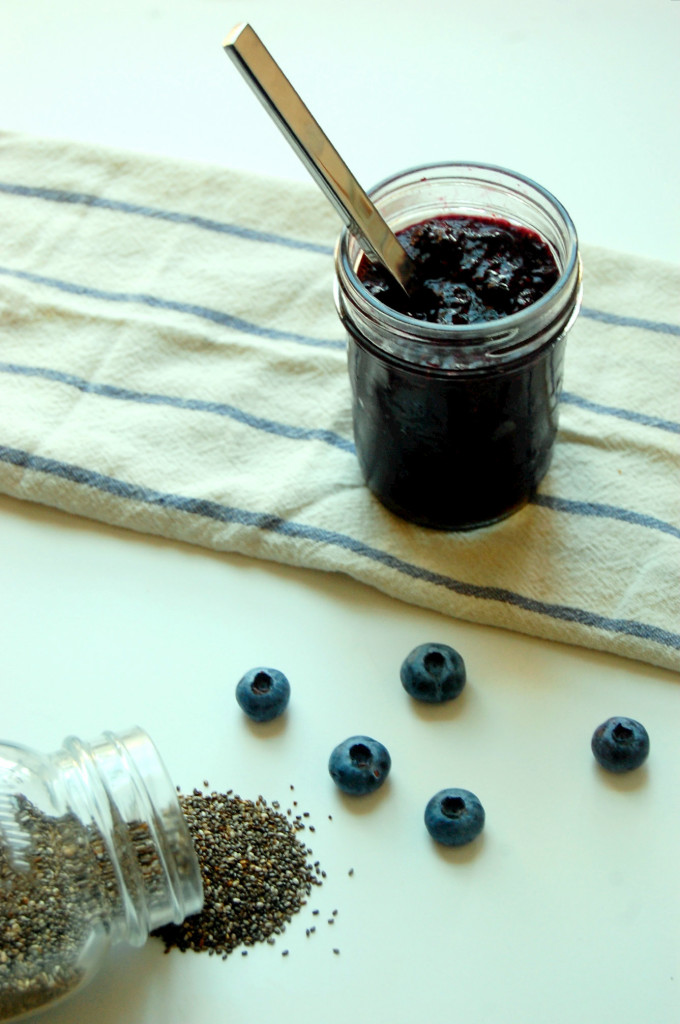 Simple Blueberry Chia Jam, using 3 ingredients you already have on hand! Make this recipe for topping all your favorite breakfasts.  uprootfromoregon.com