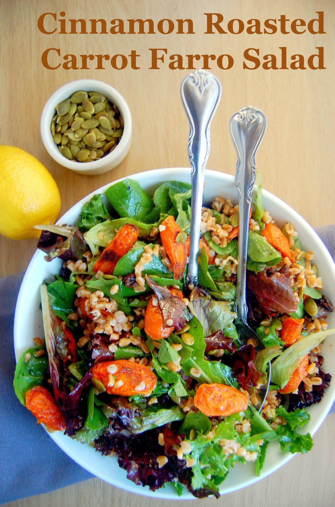 A perfect vegetarian main dish for fall, this Cinnamon Roasted Carrot Farro Salad combines sweet notes with savory fall flavors | uprootfromoregon.com