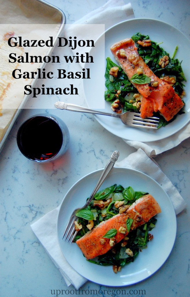 Glazed Dijon Salmon with Garlic Basil Spinach - a simple 30 minute dinner idea that your whole family will love | uprootfromoregon.com