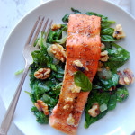 Glazed Dijon Salmon with Garlic Basil Spinach