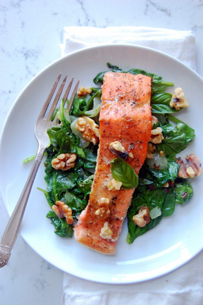 Glazed Dijon Salmon with Garlic Basil Spinach - a simple 30 minute dinner that feels luxurious! | uprootfromoregon.com