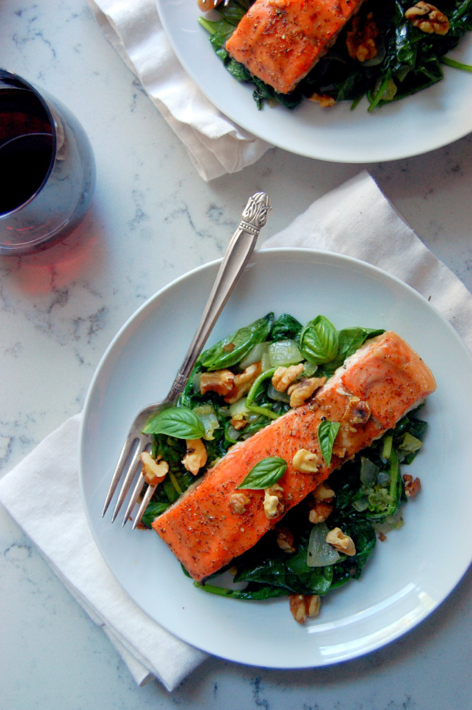 Glazed Dijon and Maple Salmon with Wilted Garlic and Basil Spinach, a healthy and gluten-free 30 minute meal that anyone will love! | uprootfromoregon.com