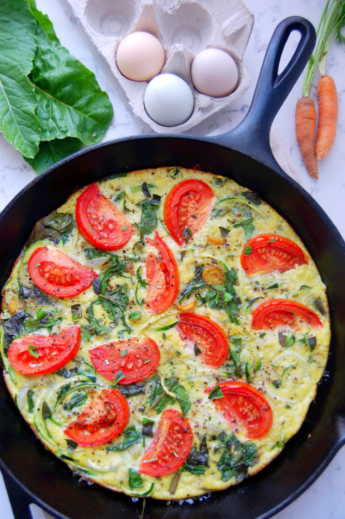 Seasonal Zucchini Noodle Frittata with Swiss Chard, baked in a cast iron pan for an easy breakfast or brunch | uprootfromoregon.com