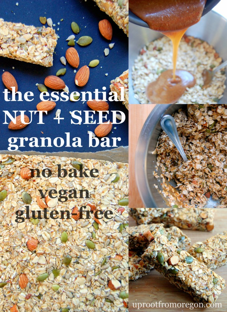 The Essential Nut and Seed Granola Bar, a no-bake recipe that takes 20 minutes to throw together for snacks for the week! Vegan and glutenfree. | uprootfromoregon.com