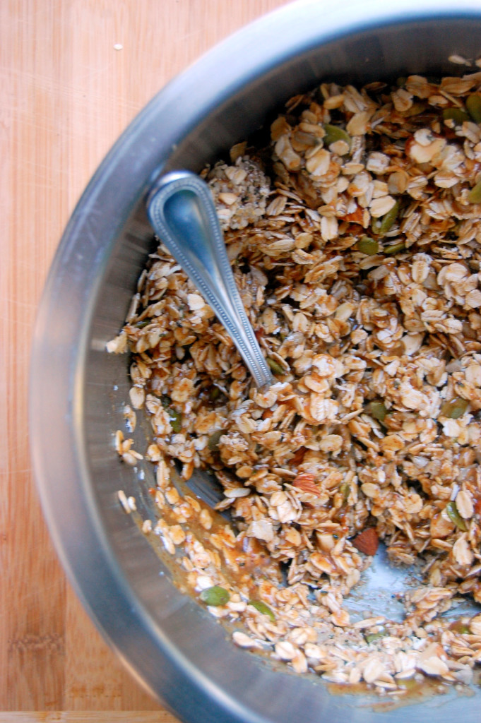 The Essential Nut and Seed Granola Bar mixture before being pressed into a pan to set (no bake, gluten free, and vegan!) | uprootfromoregon.com