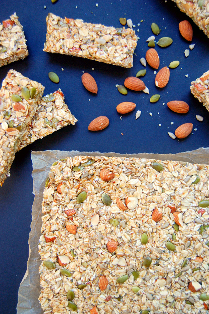 These Essential Nut and Seed Granola Bars are pressed into a pan and frozen instead of baked - and then sliced to take and enjoy! #vegan #glutenfree | uprootfromoregon.com