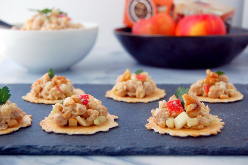 A perfect fall appetizer, these crisps are topped with an easy chickpea salad made with greek yogurt, mustard, apples, celery and walnuts | uprootfromoregon.com