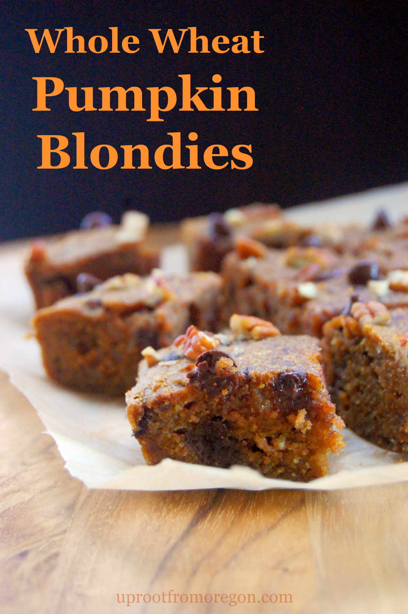 A simple fall dessert recipe for Whole Wheat Pumpkin Blondies with Pecans and Chocolate Chips | uprootfromoregon.com