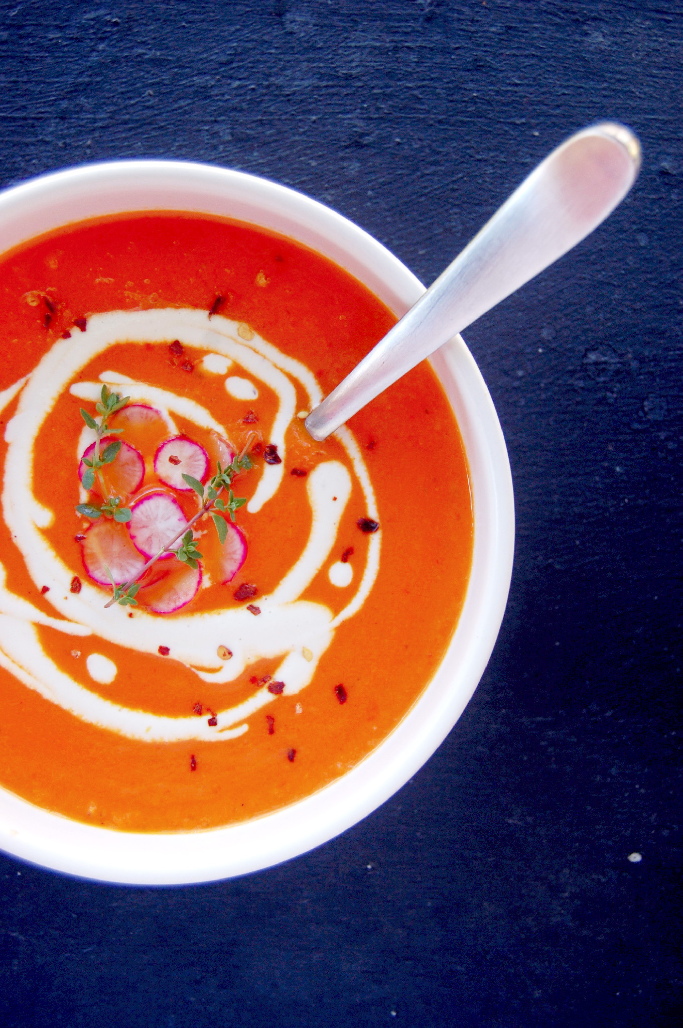 Roasted Red Pepper Tomato Soup | Uproot Kitchen