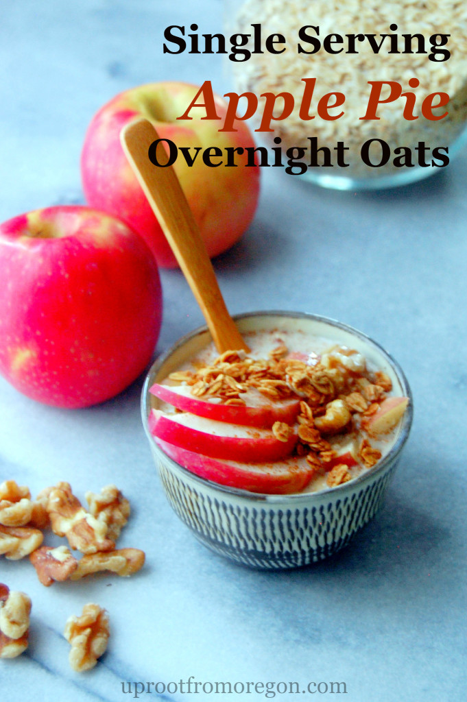 Single Serving Apple Pie Overnight Oats - assemble them in 5 minutes the night before! | uprootfromoregon.com