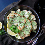 Cauliflower Steaks with Spicy Cilantro Cashew Cream
