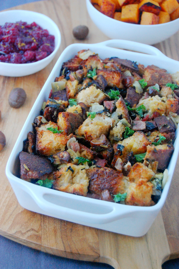 Chestnut Stuffing with Kale and Turkey Bacon, perfect for the ...