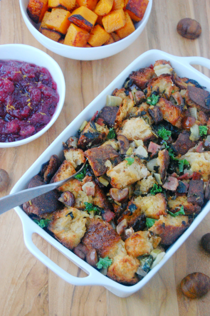 Thanksgiving Roasted Chestnut Stuffing with Curly Kale and Turkey Bacon | uprootfromoregon.com