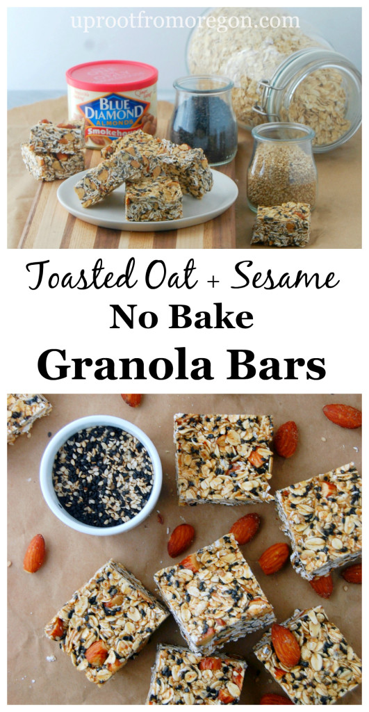 Toasted Oat and Sesame No Bake Granola Bars uprootfromoregon.com