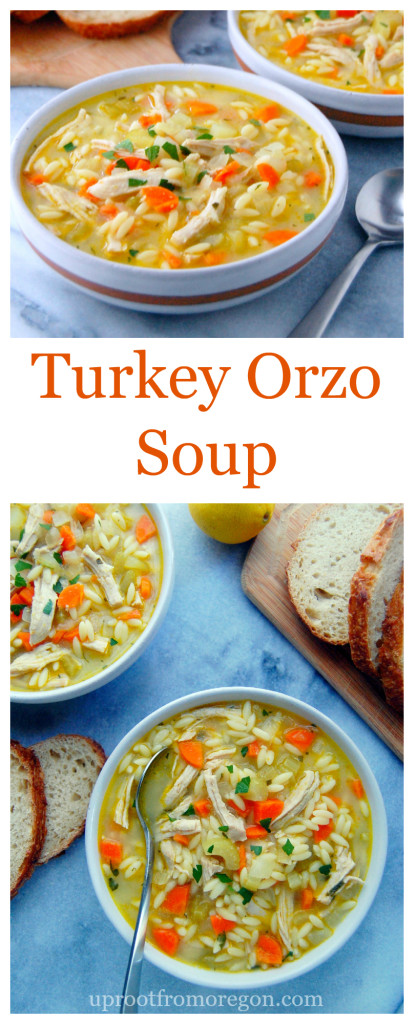 Turkey Orzo Soup, a winter warming bowl of flavorful broth, turkey breast, and orzo pasta | uprootfromoregon.com