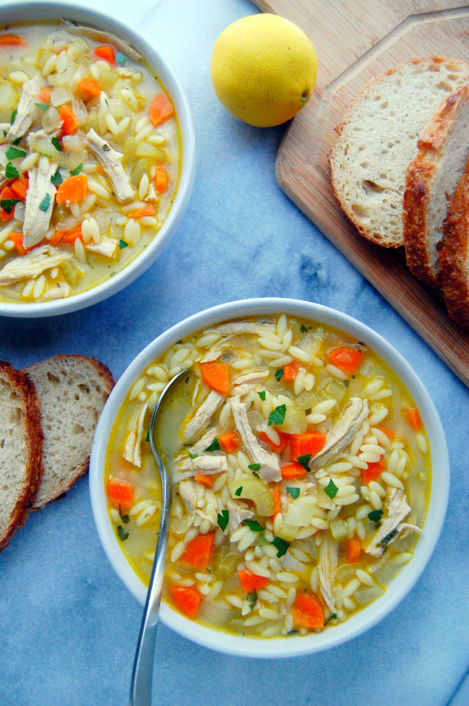 Turkey Orzo Soup with Lemon and Parsley, the perfect bowl of warming and comforting soup for winter | uprootfromoregon.com