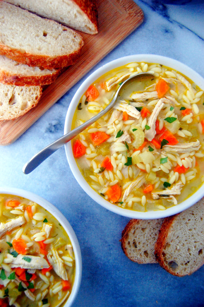 Turkey and Orzo Soup, filled with aromatic vegetables, lemon juice, and parsley for a fresh touch | uprootfromoregon.com